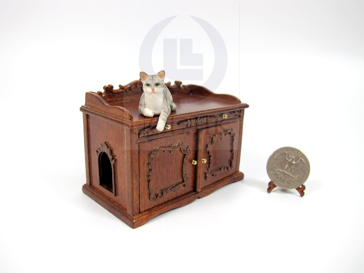1:12 Scale Cat Litter Box Cover and Cabinet For Doll House