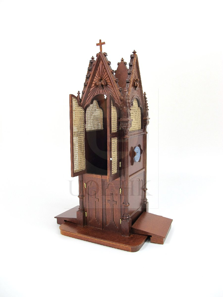 Wooden Miniature 1:12 Scale Doll House Gothic Confessional