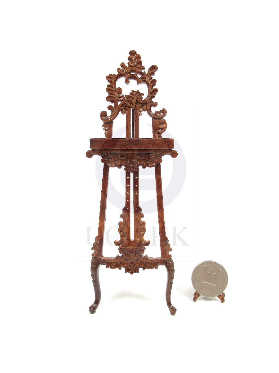 1:12 Scale Miniature Wooden Ornate Easel For Doll House[WN]