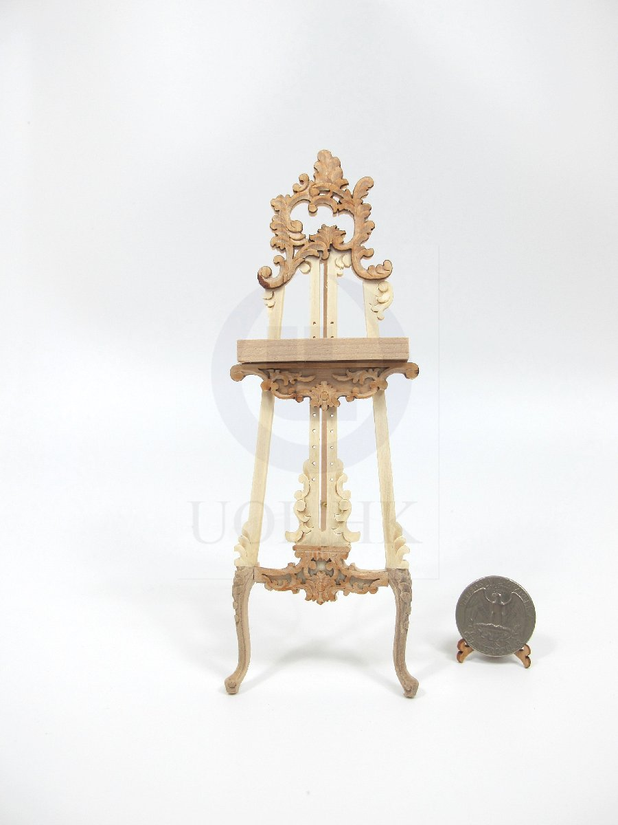 Miniature 1:12 Scale Ornate Easel For Doll House [Unfinished]