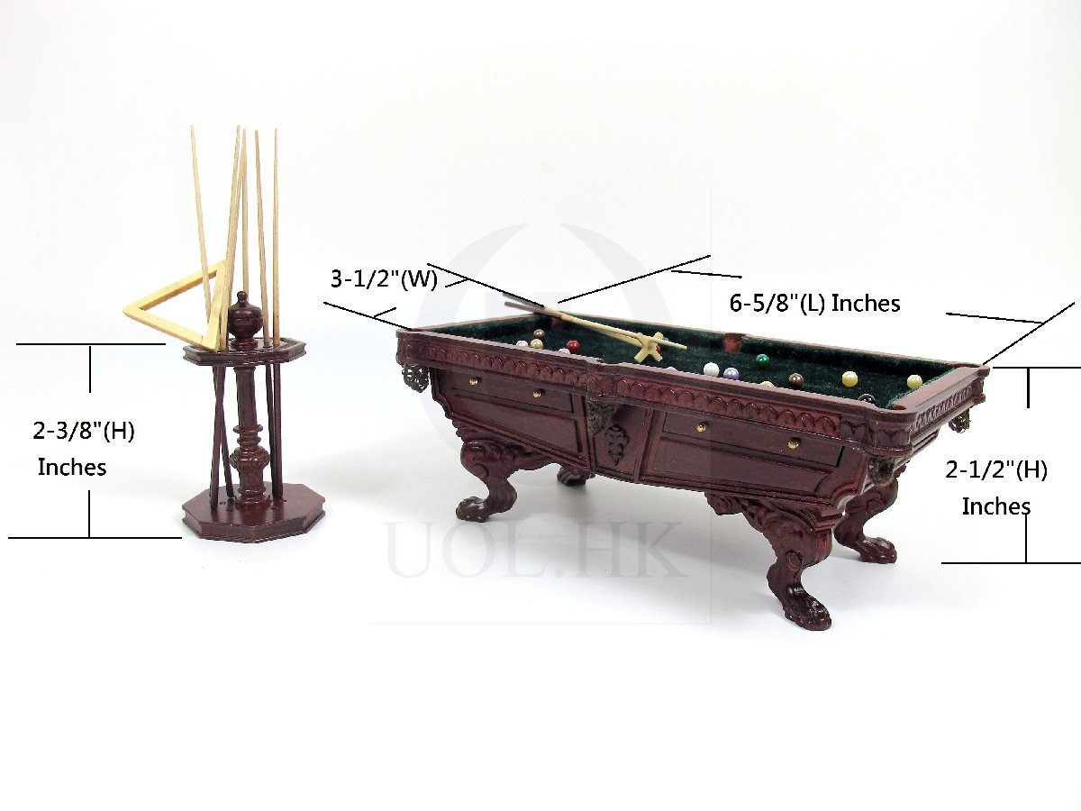 1:12 Scale Miniature For Wooden Billiard Table With Cue Rack[MH]