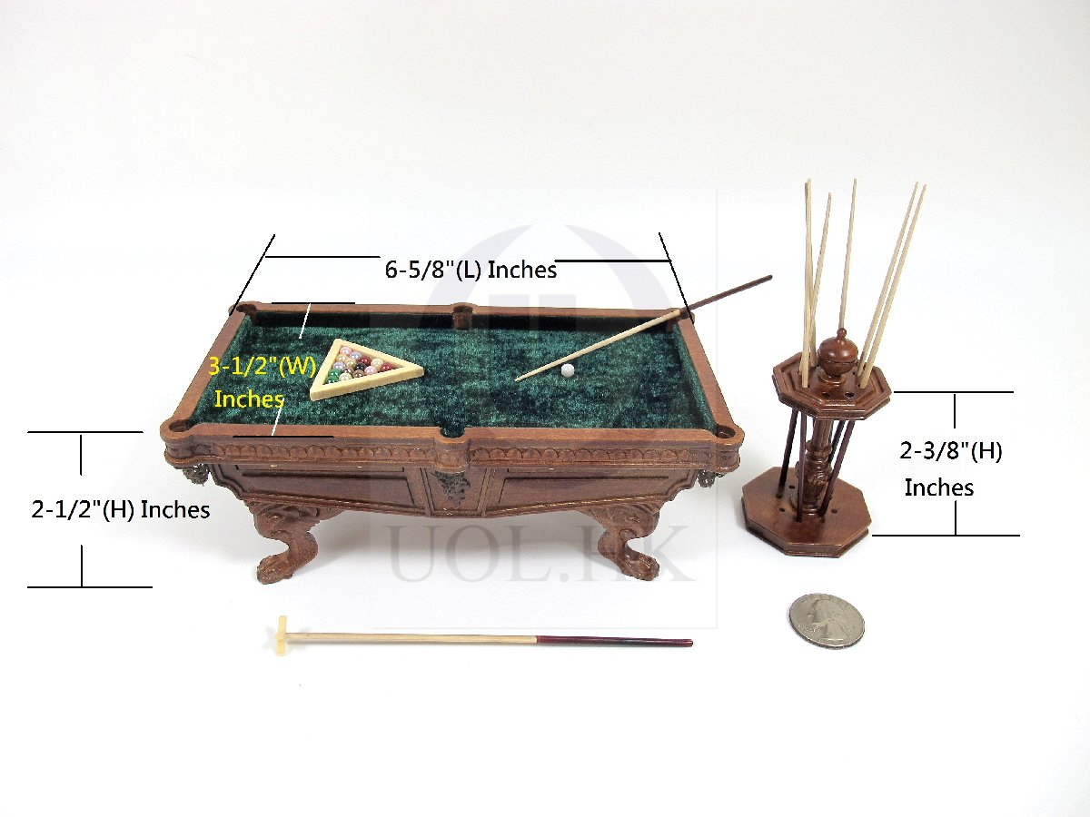 Miniature 1:12 Scale Wooden Billiard Table With Cue Rack [WN]