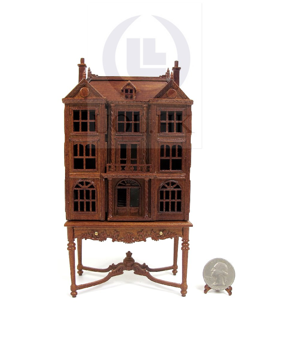 1:144 Scale Doll House On Table / Dollhouse Cabinet [WN]