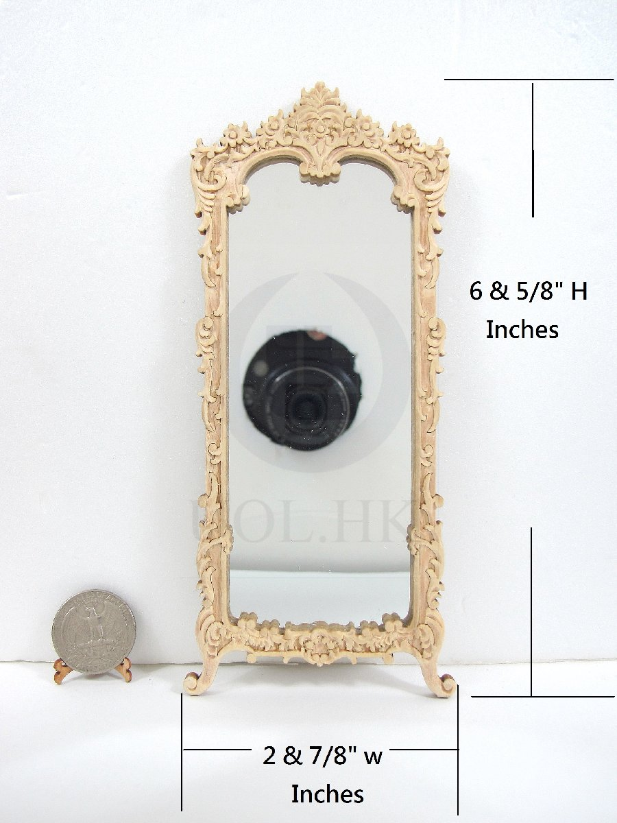 Dollhouse 1:12 Scale Miniature Victorian Carved Hall Mirror [UF]