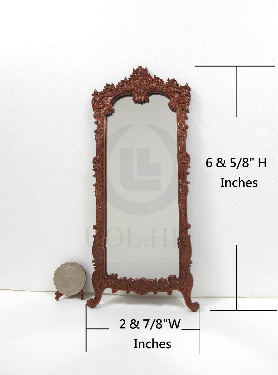 Dollhouse 1:12 Scale Miniature Victorian Carved Hall Mirror [WN]