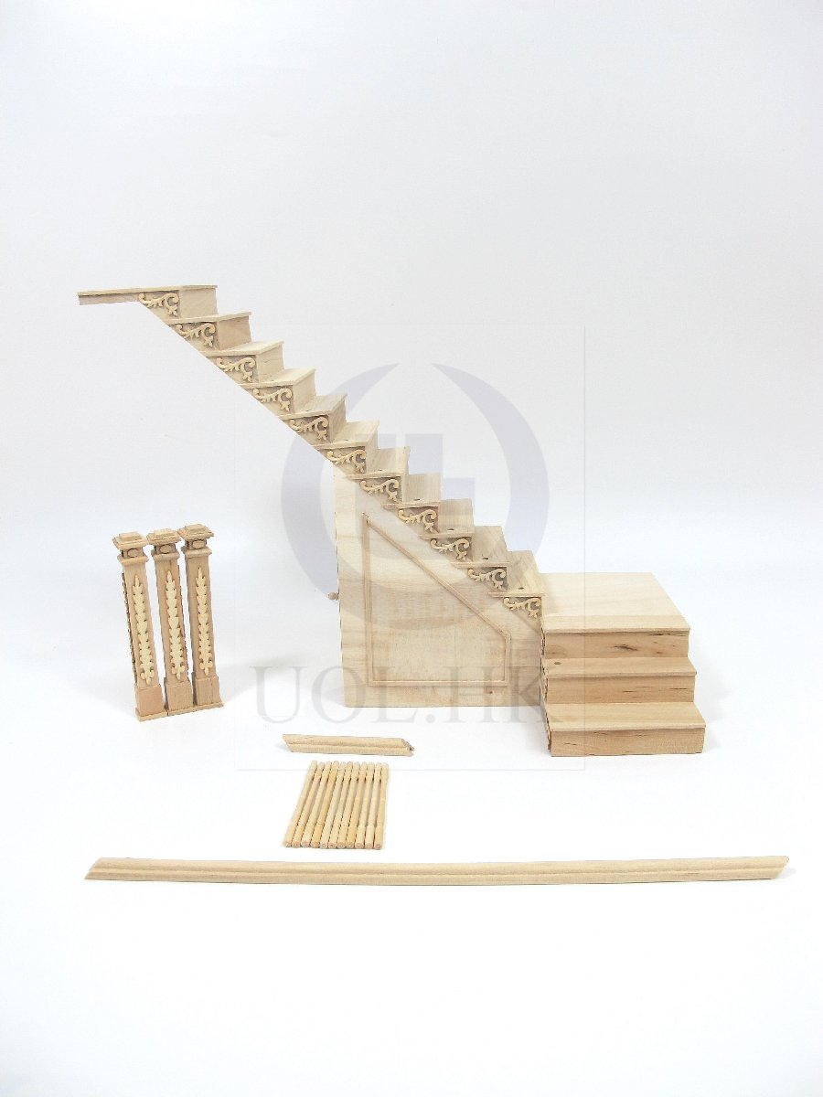 Dollhouse 1:12 Scale Left Landing Staircase With Stock Room[UF]
