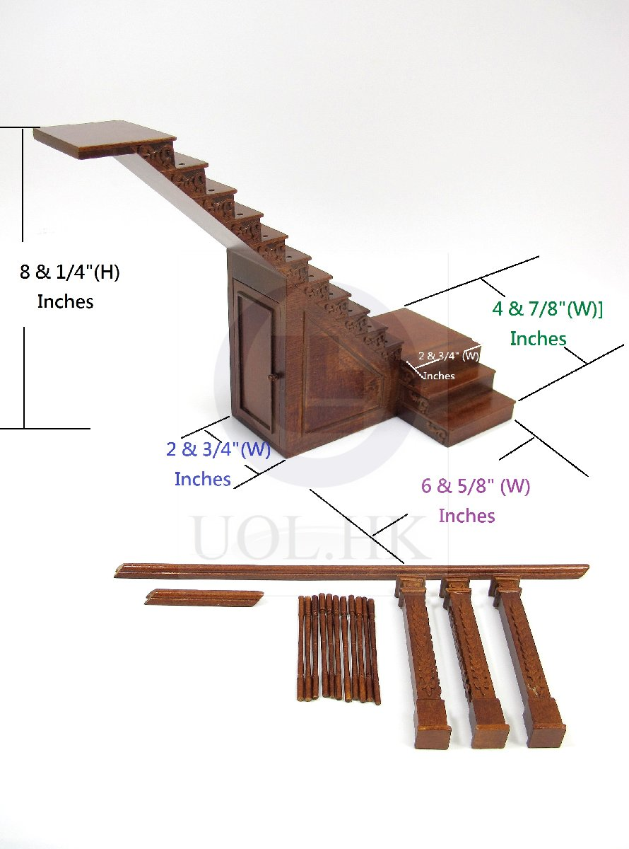 Dollhouse 1:12 Scale Left Landing Staircase With Stock Room[WN]