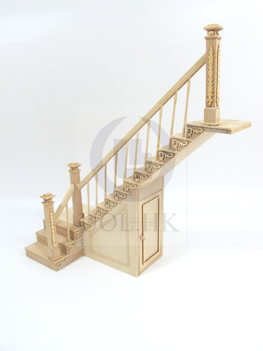 Dollhouse 1:12 Scale Right Landing Staircase With Stock Room[UF]