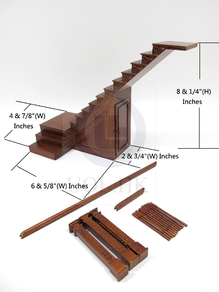 Dollhouse 1:12 Scale Right Landing Staircase With Stock Room[WN]