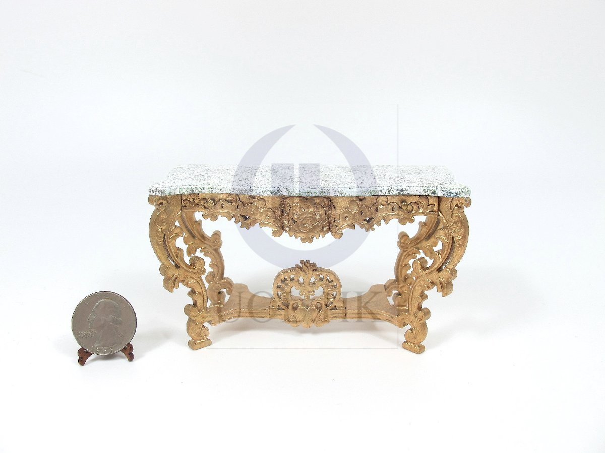 Miniature Wooden 1:12 Scale Louis XV Console Table For Dollhouse