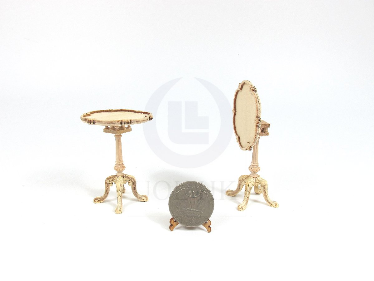 Miniature 1:12 Scale Doll House Tilt Top Tea Table [Unfinished]