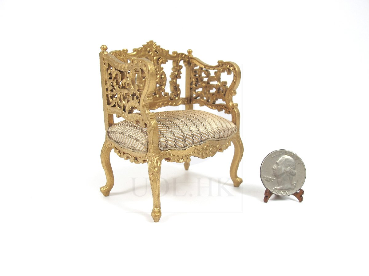 1:12 Scale Louis XVI Ornate Carved Chair For Doll House [G]