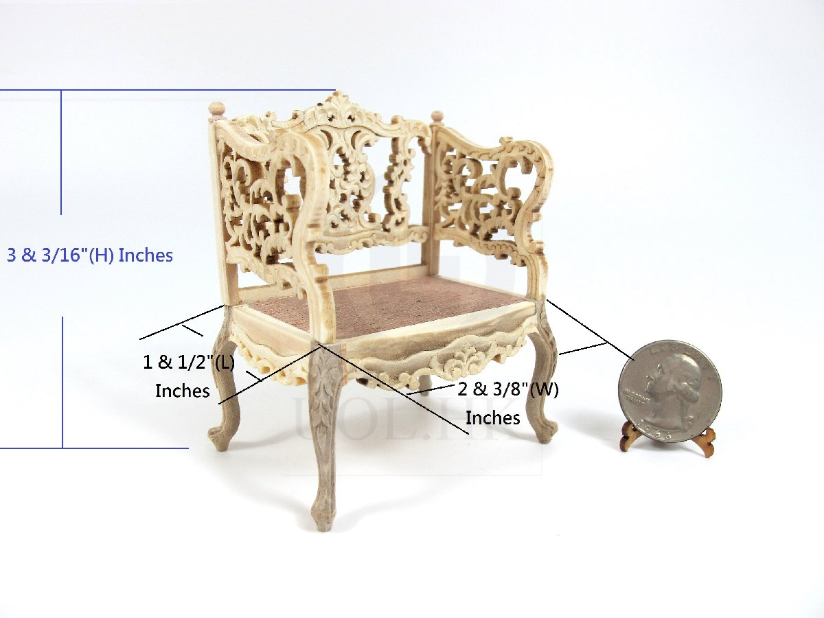 1:12 Scale Louis XVI Ornate Carved Chair For Doll House [UF]