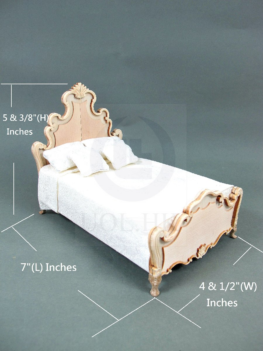 "1:12 Scale Miniature The ""Escala ""King Bed For Doll House [UF]"