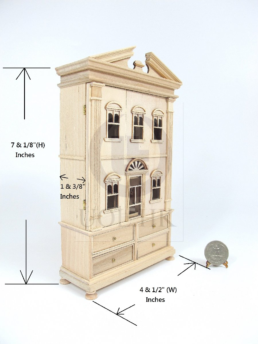 "Miniature Wooden The ""Barbara"" Baby House[Unfinished]"