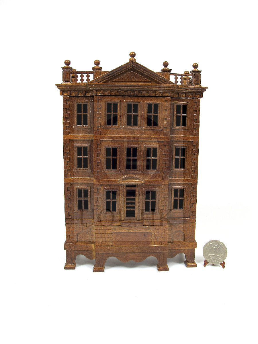 "Miniature Wooden The ""George"" Baby House-Finished in Dark walnut"