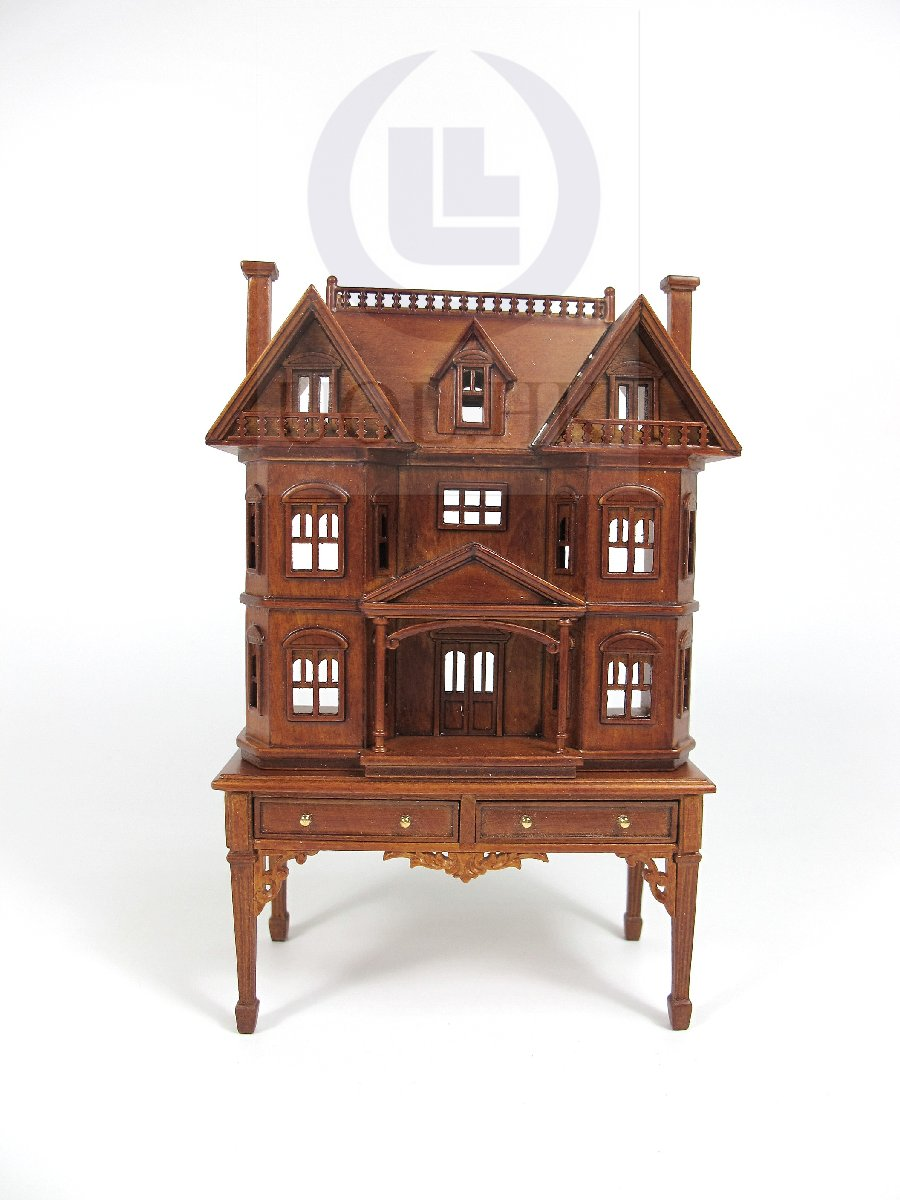 "Miniature The ""Rene"" 1:144 Scale House Sits On 1:12 Scale Table"