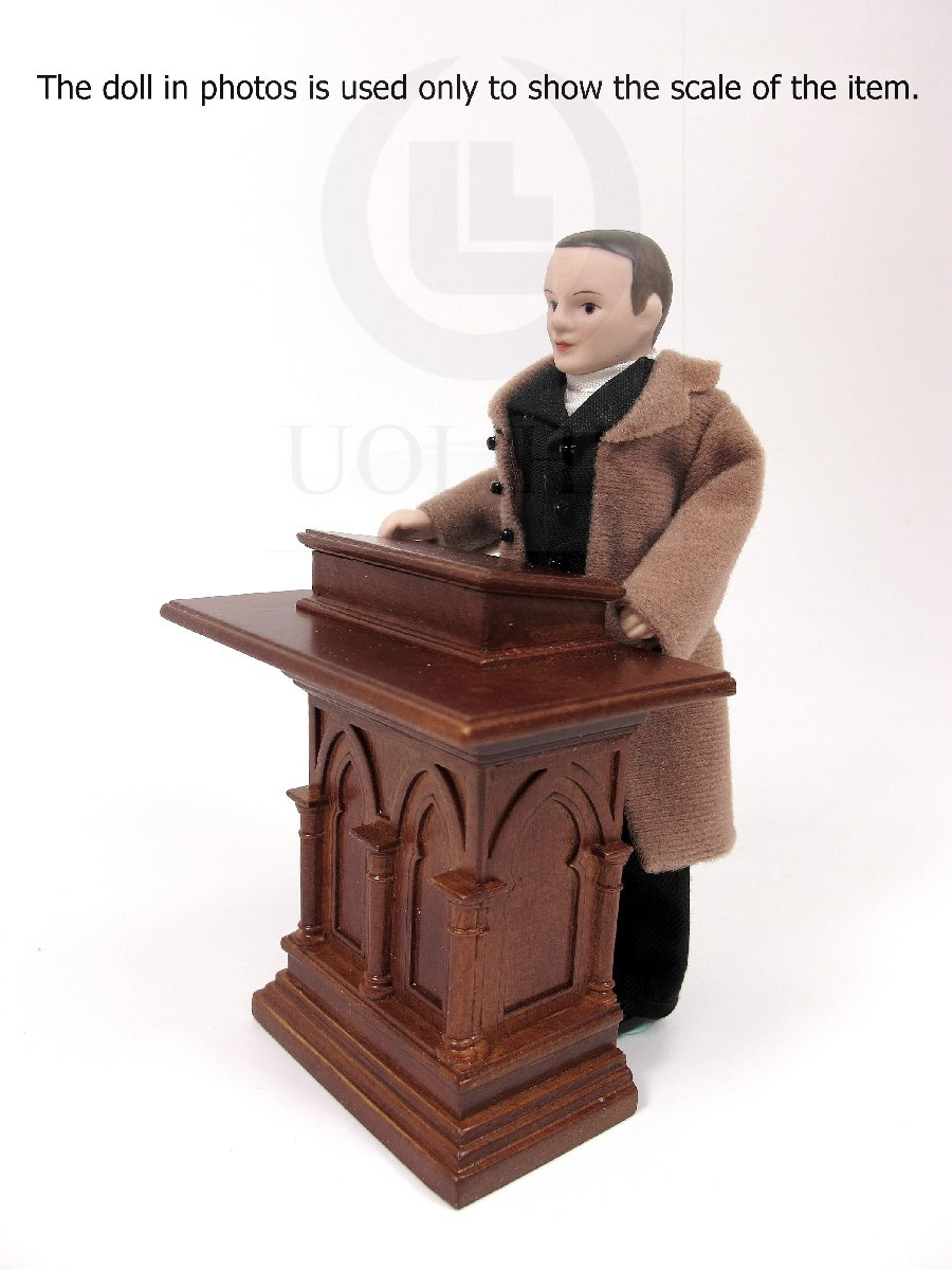 1:12 Scale Miniature Wooden Gothic Carved Podium Or Lectern[WN]