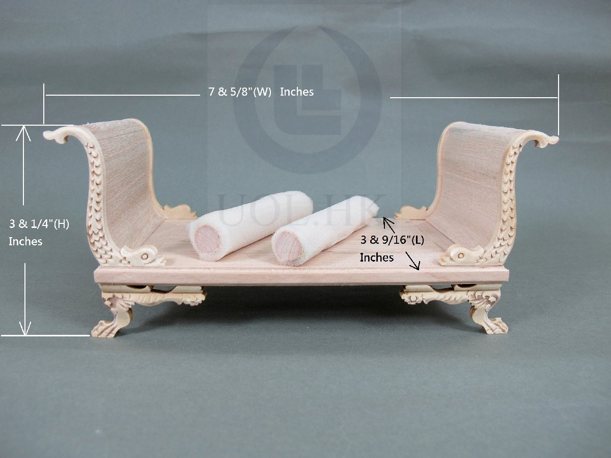 Miniature 1:12 Scale Wooden Daybed Unfinished Frame