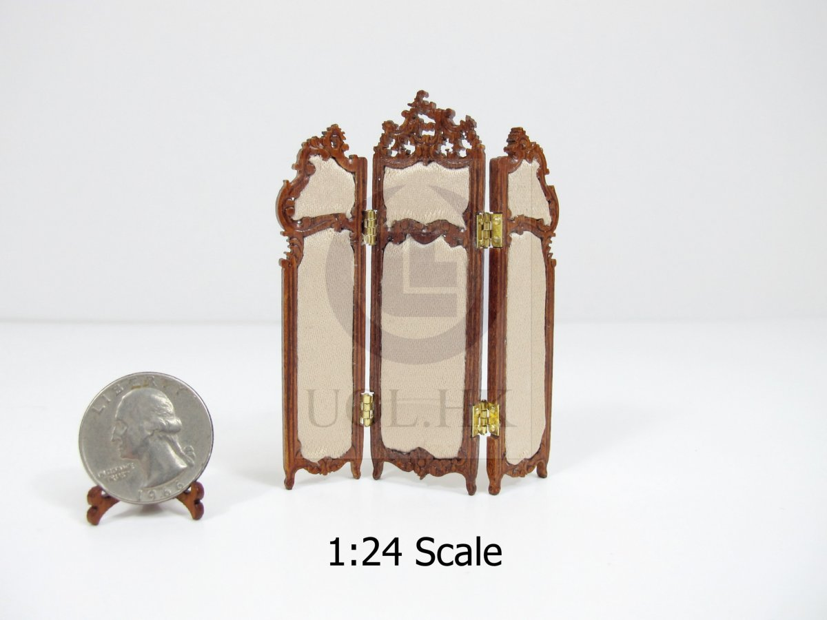 1:24 HALF Scale Miniature Three Fold Screen For Doll House