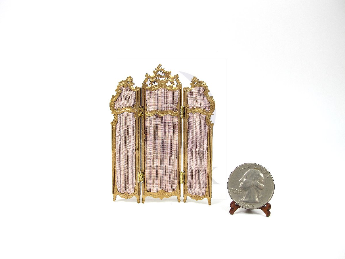 1:24 HALF Scale Miniature Three Fold Screen For Doll House-G