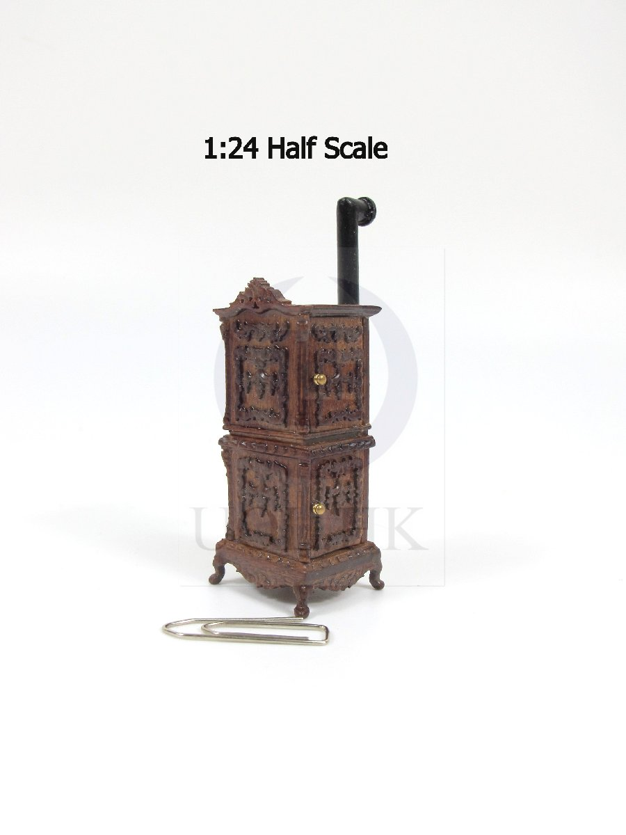 1:24 Half Scale Miniature Victorian Carved Stove For Doll House