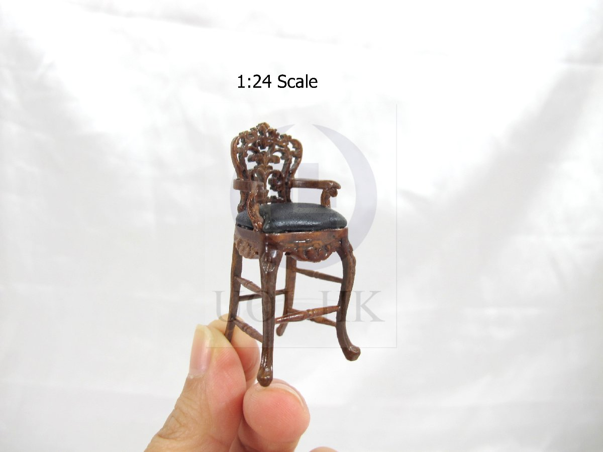 1:24 HALF Scale Miniature Carved Bar Stool For Doll House [WN]