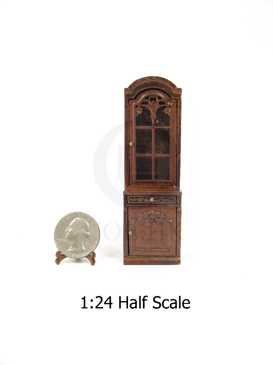 Dollhouse 1:24 Scale Miniature Left Opened Display Cabinet [WN]