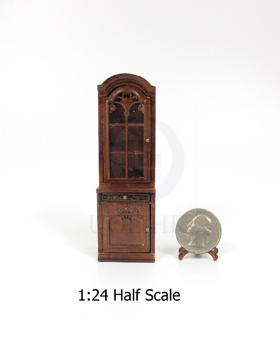 Dollhouse 1:24 Scale Miniature Right Opened Display Cabinet [WN]