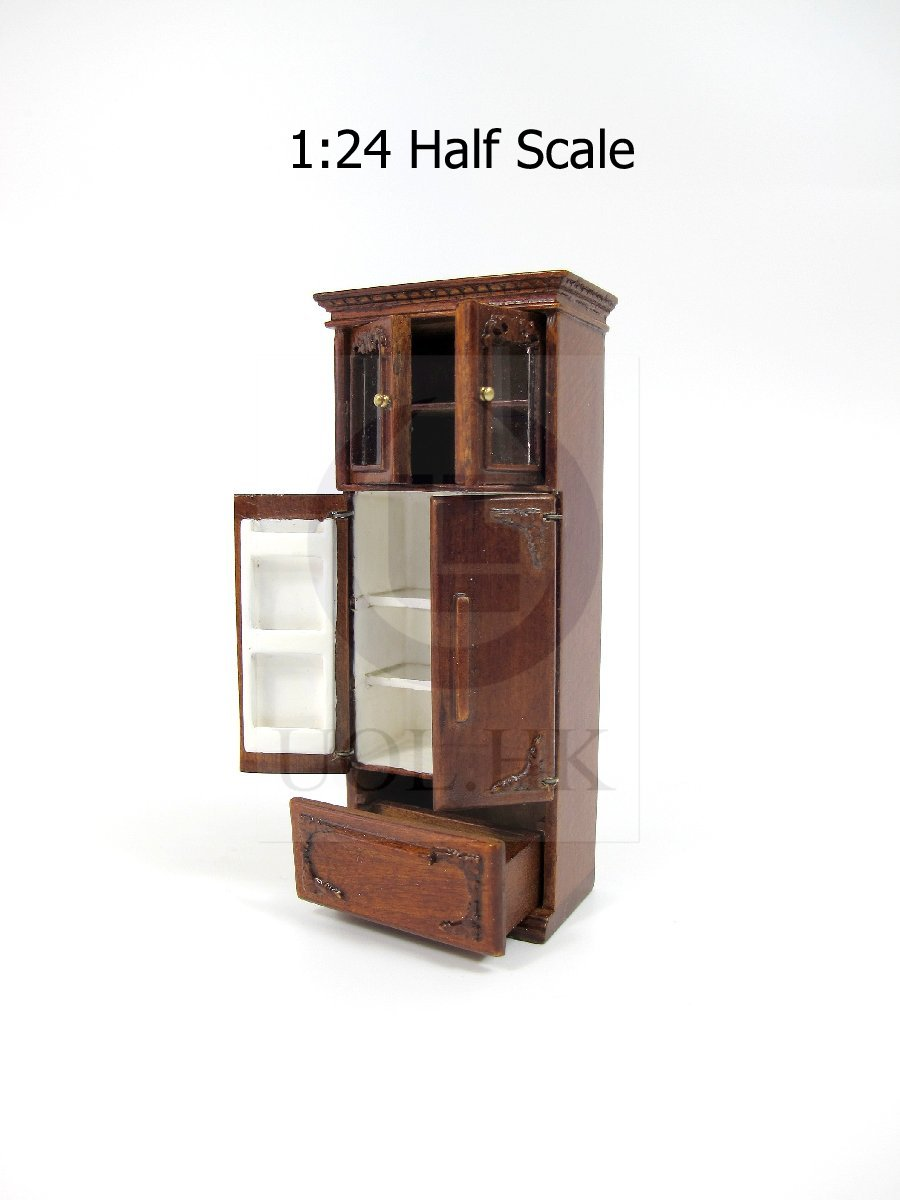 1:24 Scale French Provincial Fridge Cabinet For Doll House [WN]