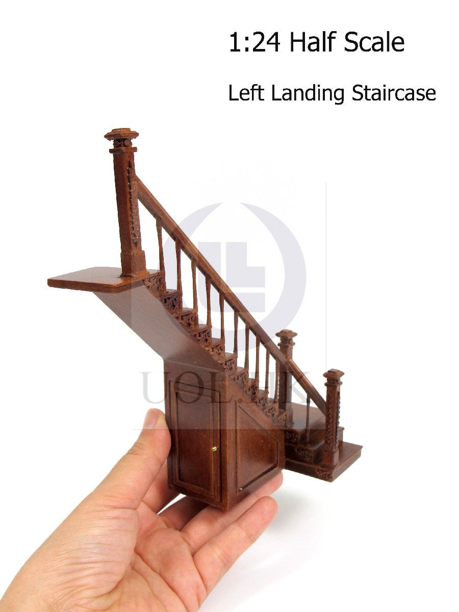 Dollhouse 1:24 Scale Left Landing Staircase With Stock Room[WN]