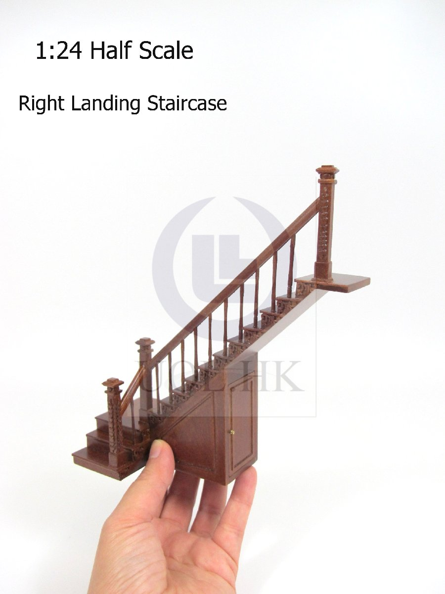 Dollhouse 1:24 Scale Right Landing Staircase With Stock Room[WN]