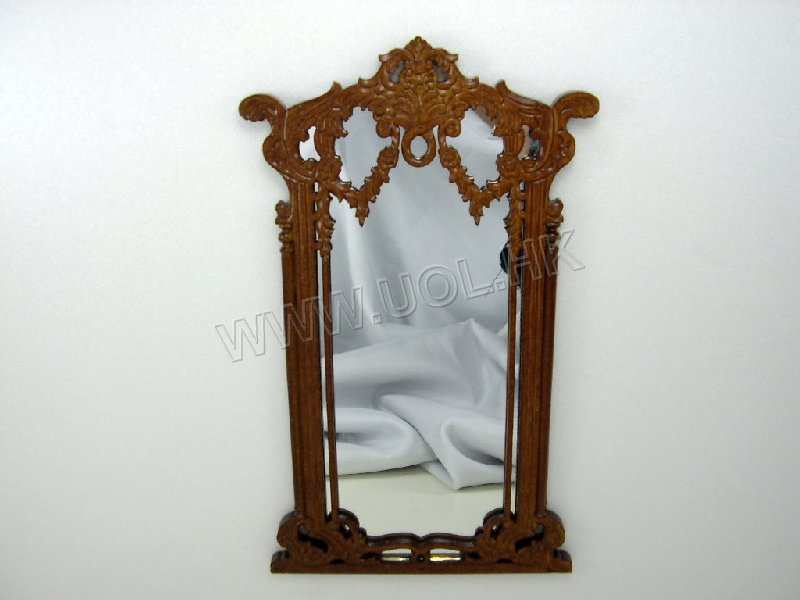 Doll house pier mirror finished in walnut