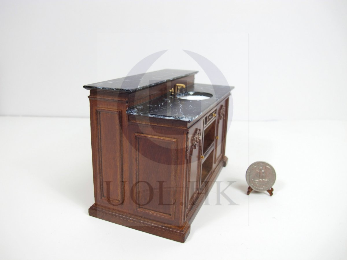 Miniature 1 12 scale french provincial sink kitchen island for doll house wn ebay - Kitchen sink in french ...
