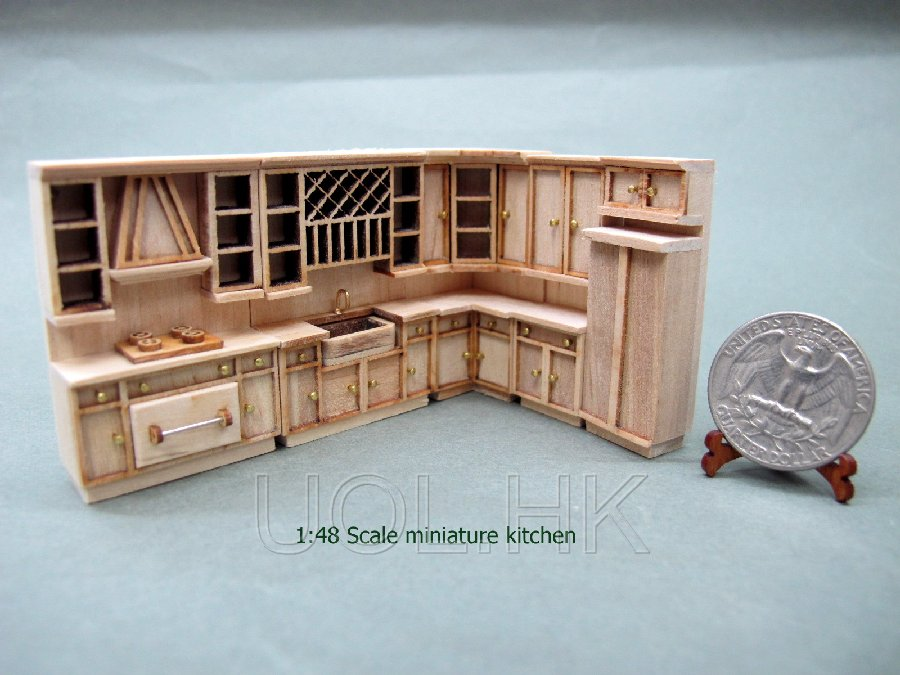 1:48 Scale of miniature tiny unpainted kitchen set (6pcs)