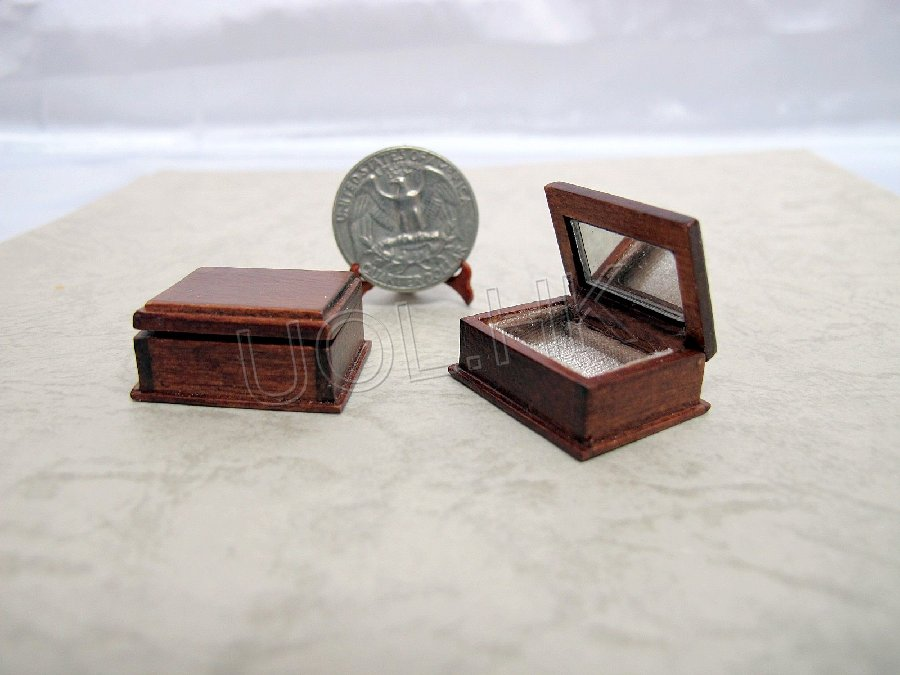 "1"" Scale Walnut Miniature Wooden Casket With Mirror For Dolhouse"