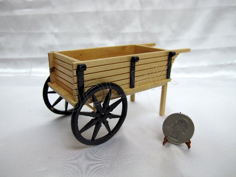 Wood Carved Miniature Wheel Barrow For 1/12th Dollhouse