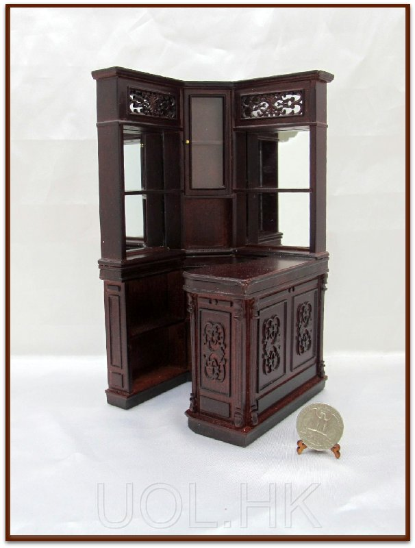 1 12 Scale Doll House Miniature Mahogany Corner Bar