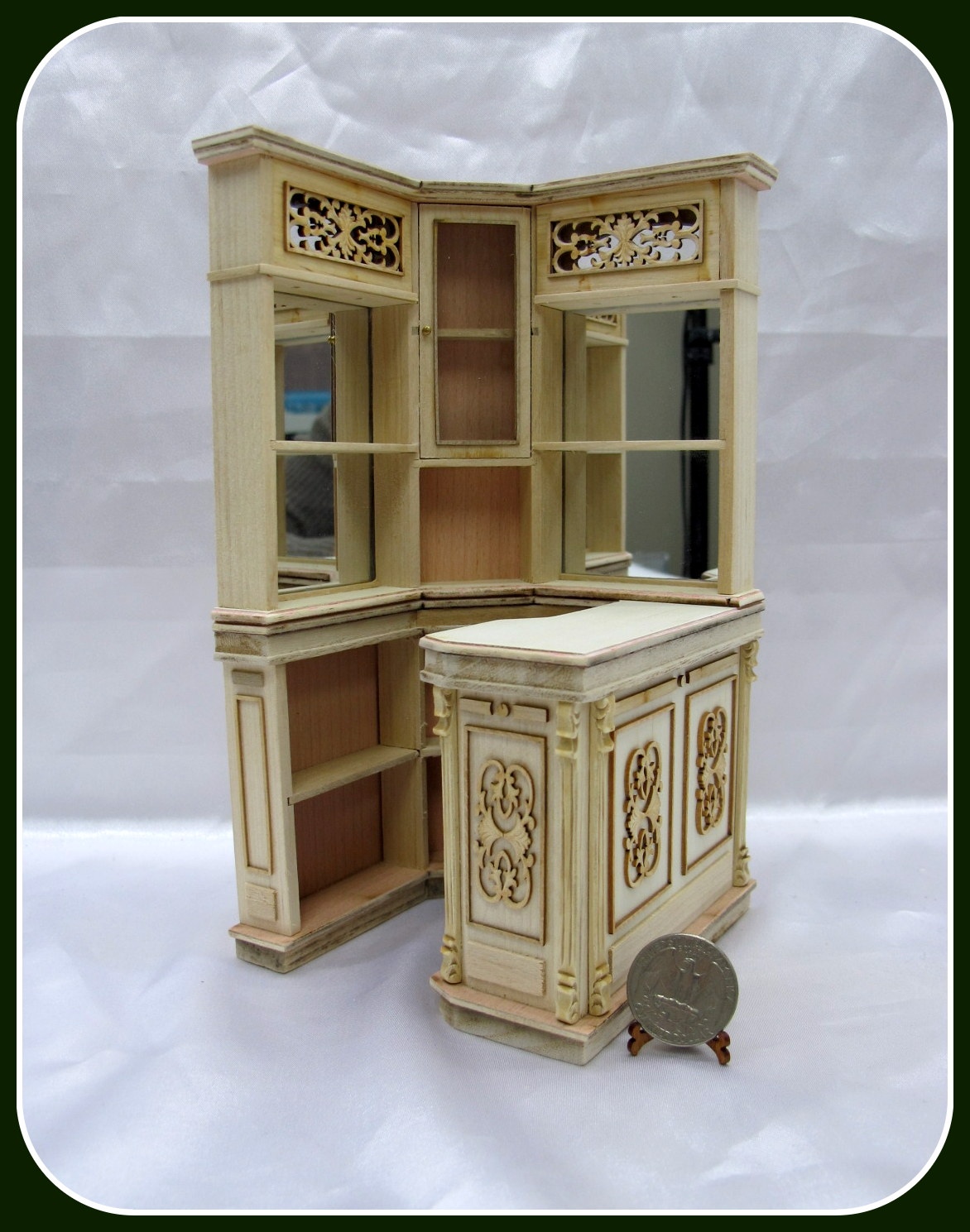 1:12 Scale Miniature Caved Corner Bar[Unpainted] For Doll House