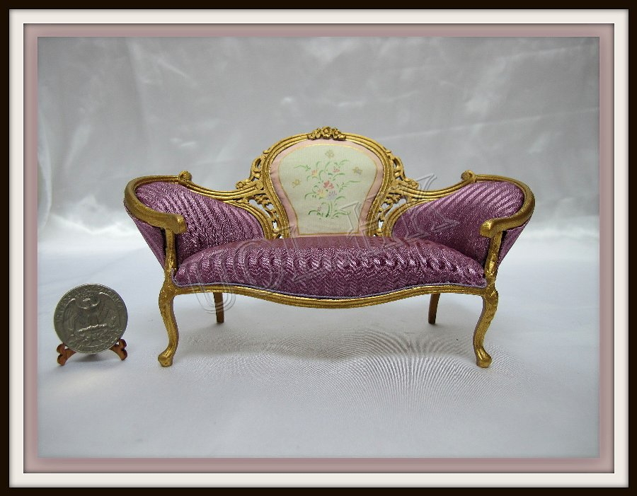1 12 Scale Doll House Gold Frame Victorian Purple Sofa